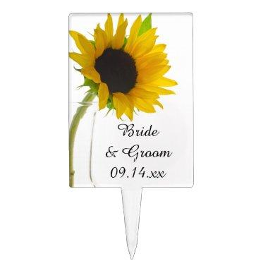 Yellow Sunflower on White Wedding Cake Topper