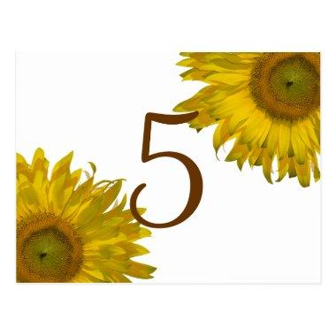 Yellow Sunflower Table Number