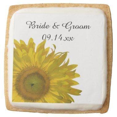 Yellow Sunflower Wedding Favor Square Shortbread Cookie
