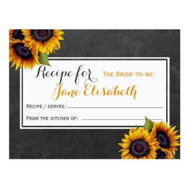 Yellow sunflowers chic bride to be recipe Invitations