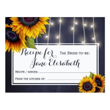 Yellow sunflowers chic navy bride to be recipe postInvitations