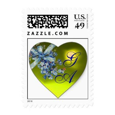 YELOW HEART FORGET ME NOTS WEDDING PARTY MONOGRAM POSTAGE