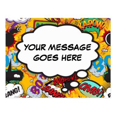 Your Message Thought Bubble Fun Retro Comic Book PostInvitations