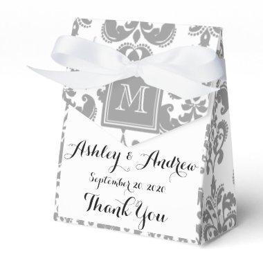 Your Monogram, Grey Damask Pattern 2 Favor Box