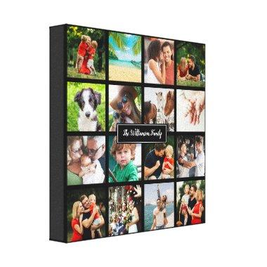Your Sixteen Favourite Family Photos Collage Canvas Print