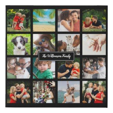 Your Sixteen Favourite Family Photos Collage Faux Canvas Print