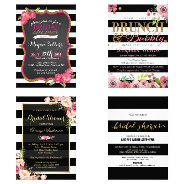 Black and White Bridal Shower Invitations