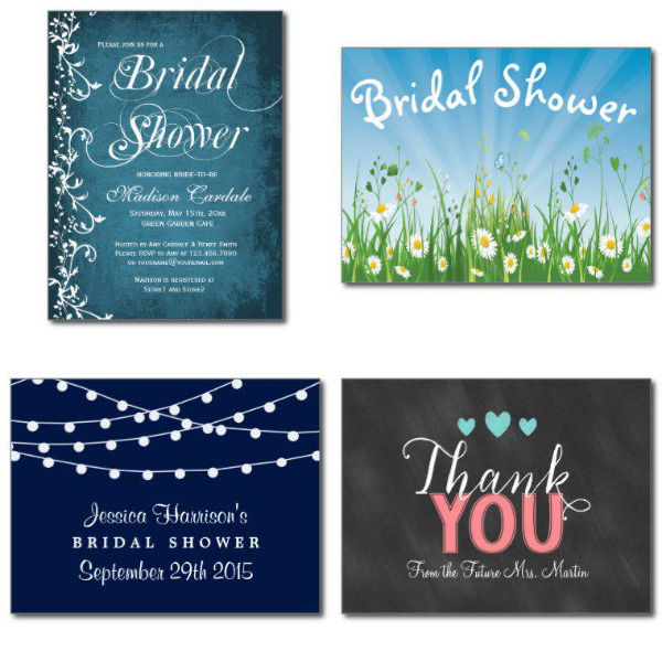 Blue Bridal Shower Invitations