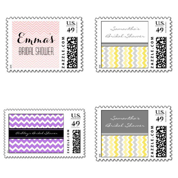 Chevron Bridal Shower Stamps