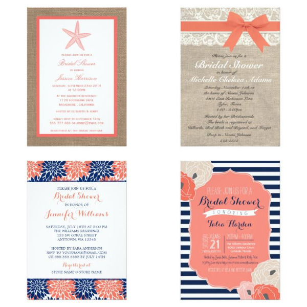 Coral Bridal Shower Invitations