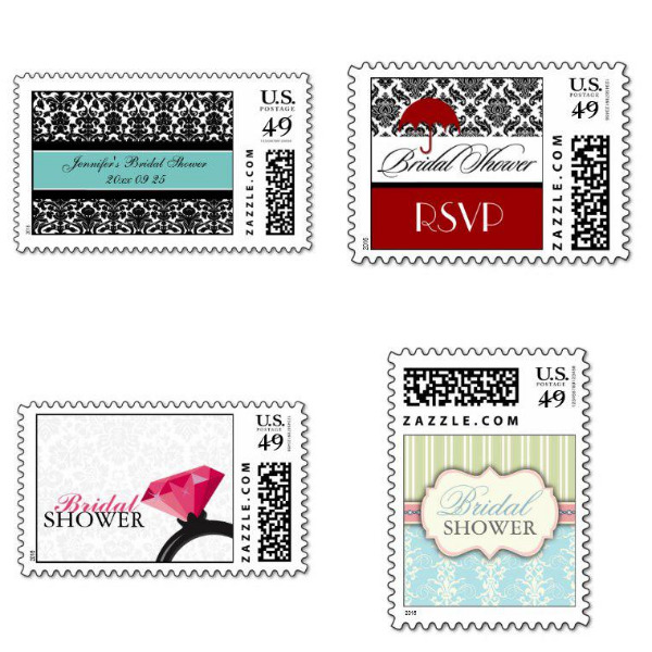 Damask Bridal Shower Stamps
