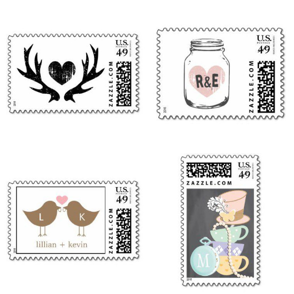 Monogram Bridal Shower Stamps