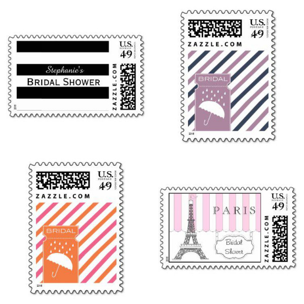 Striped Bridal Shower Stamps