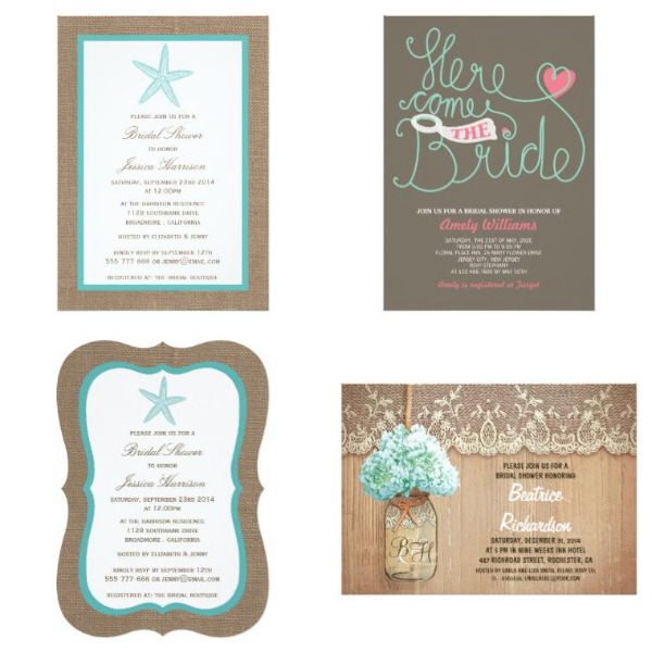 Turquoise Bridal Shower Invitations